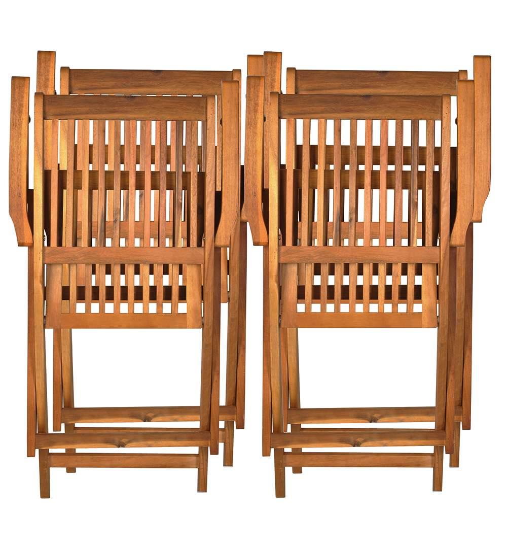 Set masa 4 scaune din lemn pliabile pentru curte for Modele de balcon din lemn