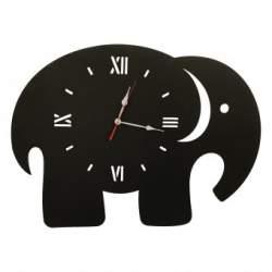 Ceas de perete metalic Krodesign Elephant, diametru 70 cm, negru SUA-KRO-1015
