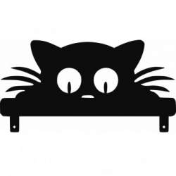 Decoratiune perete Krodesign Garden Cat, negru, 26 x 50 x 1.5 cm SUA-KRO-1032