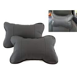 Set 2 perne tetiera auto pentru sustinere gat din piele ecologica, culoare Gri