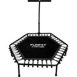 Trambulina pentru Exercitii Fitness cu Maner, forma Hexagonala, diametru 130cm, Negru