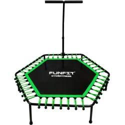 Trambulina pentru Exercitii Fitness cu Maner, forma Hexagonala, diametru 130cm, Verde