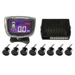 Senzori parcare fata spate cu 8 senzori si display LCD S500-8, negru