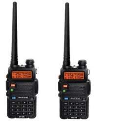 Set 2 bucati Statie radio portabila Baofeng UV-5R-BF Putere 8W, Dual Band VHF/UHF 136 - 174 MHz / 400-520 Mhz, casti cu microfon inclus MTEK-2UV5R