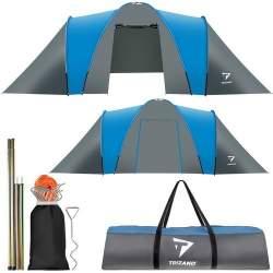 Cort Camping Impermeabil pentru 6 Persoane, cu 2 compartimente si husa depozitare, 210x200cm, Albastru/Gri