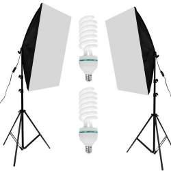 Set 2 Lampi Lumina Continua Softbox pentru Studio Foto sau Videochat cu Bec 125W si Suport Trepied Reglabil 80-200cm
