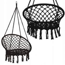 Leagan tip scaun rotund suspendat, pentru casa sau gradina, cu franjuri, capacitate 150kg, negru