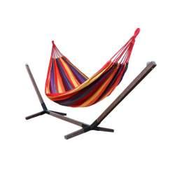 Hamac Multicolor pentru Curte sau Gradina, Dimensiune 200x100cm, cu Suport din Lemn, 360x85 cm, capacitate 120kg, maro inchis