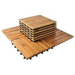 Set 10 placi dale pavaj 30x30cm, din lemn de salcam, pentru Terasa, Gradina sau Balcon, maro