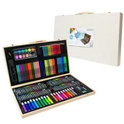 Set creativ de pictura si desen pentru copii, cu creioane, carioci, acuarele, si accesorii, 180 piese