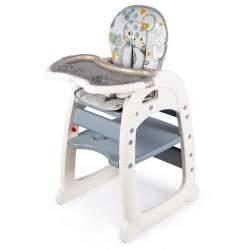 Scaun de masa inaltator pentru copii si bebe 2in1, cu centura de siguranta si spatar reglabil, gri