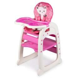 Scaun de masa inaltator pentru copii si bebe 2in1, cu centura de siguranta si spatar reglabil, roz