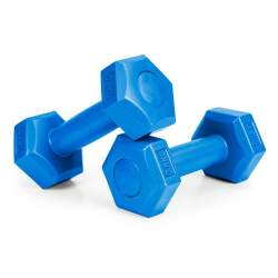 Set 2 Gantere pentru fitness sau antrenament, din cauciuc, 2x0.5 kg, culoare albastru