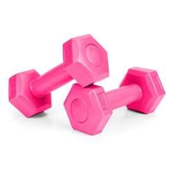 Set 2 Gantere pentru fitness sau antrenament, din cauciuc, 2x0.5 kg, culoare roz