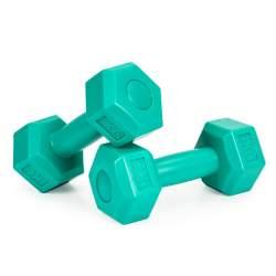 Set 2 Gantere pentru fitness sau antrenament, din cauciuc, 2x1 kg, culoare verde