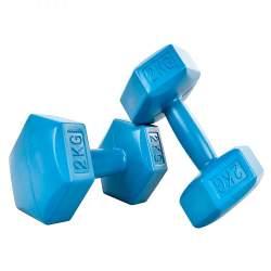 Set 2 Gantere pentru fitness sau antrenament, din cauciuc, 2x2 kg, culoare albastru