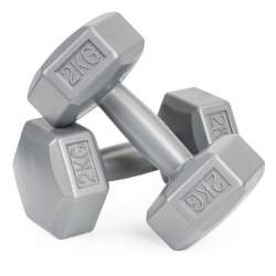 Set 2 Gantere pentru fitness sau antrenament, din cauciuc, 2x2 kg, culoare gri