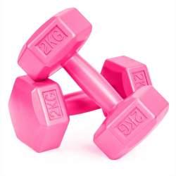 Set 2 Gantere pentru fitness sau antrenament, din cauciuc, 2x2 kg, culoare roz