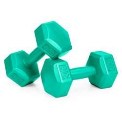 Set 2 Gantere pentru fitness sau antrenament, din cauciuc, 2x2 kg, culoare verde