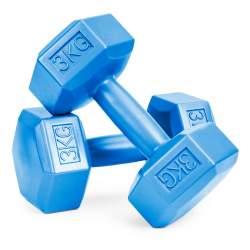 Set 2 Gantere pentru fitness sau antrenament, din cauciuc, 2x3 kg, culoare albastru