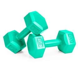 Set 2 Gantere pentru fitness sau antrenament, din cauciuc, 2x3 kg, culoare verde