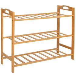 Suport pentru depozitare incaltaminte, cu 3 rafturi, din lemn de bambus, 20kg, 51x68.5x24 cm