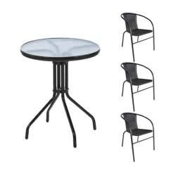 Masa Rotunda cu Blat din Sticla, diametru 60cm, Cadru Metal pentru Curte, Gradina, Terasa sau Balcon, cu 3 Scaune Rattan si Metal, Stivuibil, Culoare Negru