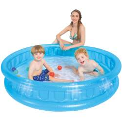Piscina gonflabila pentru copii, din PVC, dimensiune 155x32 cm, albastru