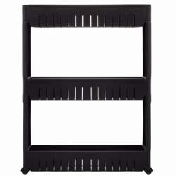 Dulap modular mobil Springos pentru baie sau bucatarie, cu 3 rafturi, 70x54 cm, negru