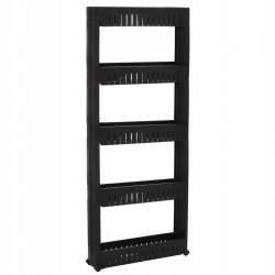 Dulap modular mobil Springos pentru baie sau bucatarie, cu 5 rafturi, 131.5x54 cm, negru