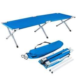 Pat tip sezlong pliabil pentru camping, cu cadru metalic demontabil, 110kg, 187x62x43 cm, albastru