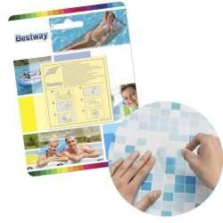 Kit folii autoadezive Bestway pentru reparatie piscina sau jucarii gonflabile, 6.5x6.5cm, 10 buc