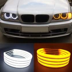 Angel Eyes COTTON compatibil BMW E46 fara lupa. Lumina: alba DRL + semnalizare galbena  COD: H-COT-WY07 MRA36-260321-9