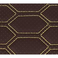 Material hexagon cu gaurele maro/cusatura bej COD: Y03MG MRA36-040621-60