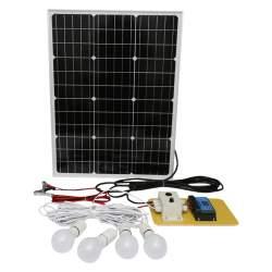 Set panou solar 50W regulator 10A 2xUSB 12/24V 4 becuri LED 8W BK87496 MRA36-220221-2