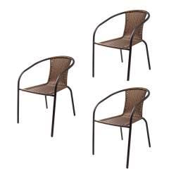 Set 3 Scaune din Ratan cu Cadru Metalic, pentru Terasa sau Gradina, 51.5x61x72 cm, Maro MPL5-HERKULES2-marox3