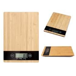 Cantar de bucatarie din lemn de bambus, cu ecran LCD, capacitate 5kg, 23x16 cm