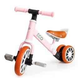 Bicicleta pentru copii 2in1 EcoToys cu/fara pedale, scaun reglabil, 65x49x33 cm, roz