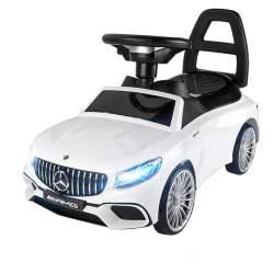 Masinuta Mercedes GLE 63 AMG, volan interactiv cu melodii, faruri LED, capacitate 25kg, culoare alb