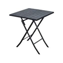 Masuta de cafea patrata pliabila pentru terasa, curte sau gradina, cadru metalic si blat HDPE, 62x62 cm, negru