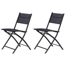 Set 2 scaune pliabile ModernHome pentru terasa sau gradina, structura din otel, 120 kg, culoare Negru