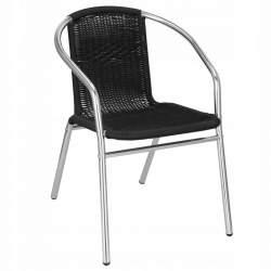Scaun din Rattan pentru curte, gradina sau casa, cu cadru metalic, 130kg, negru/crom