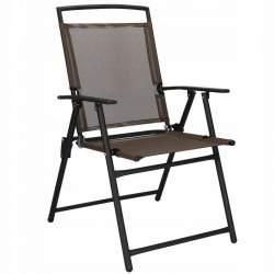 Scaun pliabil pentru curte, gradina sau casa, cu cadru metalic, capacitate 120kg, maro/negru