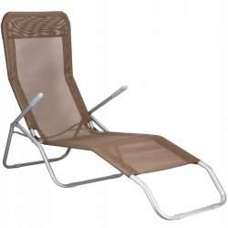 Scaun tip sezlong ergonomic pliabil si reglabil pentru terasa sau gradina, capacitate 120kg, maro