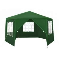 Cort Pavilion Hexagon pentru Gradina, Curte sau Evenimente, cu 6 Pereti Laterali demontabili, 2x2x2m, Culoare Verde