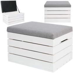 Cutie de depozitare din lemn, cu capac tapitat, sarcina maxima 150 kg, 40x50x35 cm, alb/gri