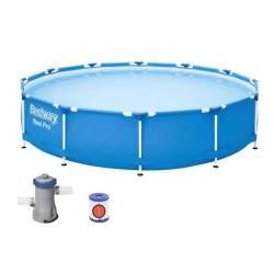 Piscina pentru copii Bestway cu Pompa de apa inclusa, strat Triplu PVC, cadru otel si supapa pentru evacuare apa, diametru 366 cm, 6473L