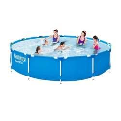 Piscina pentru copii Bestway cu strat Triplu PVC, cadru otel si supapa pentru evacuare apa, diametru 366 cm, 6473L, albastru