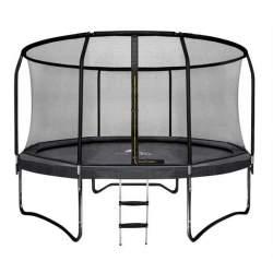 Trambulina mare pentru copii si adulti Malatec HQ, diametru 252cm / 8ft, cu plasa exterioara si scara, 150kg, negru