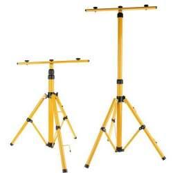 Trepied dublu universal ajustabil pentru 2 proiectoare sau lampi de lucru, inaltime 55-155cm, galben